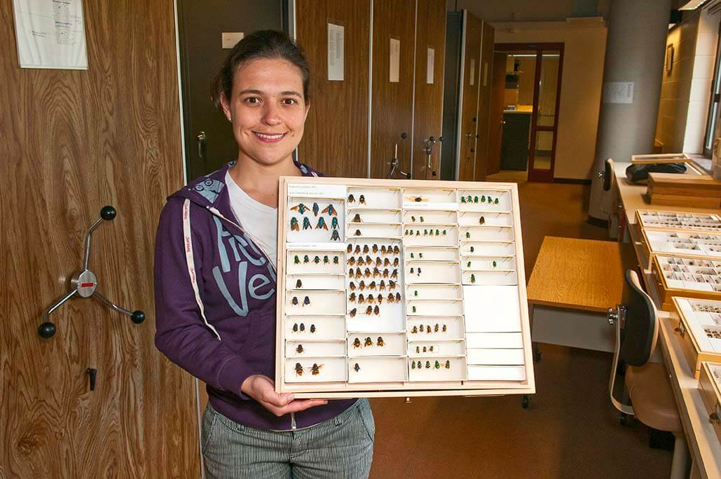 A student holding a board of CUIC specimens