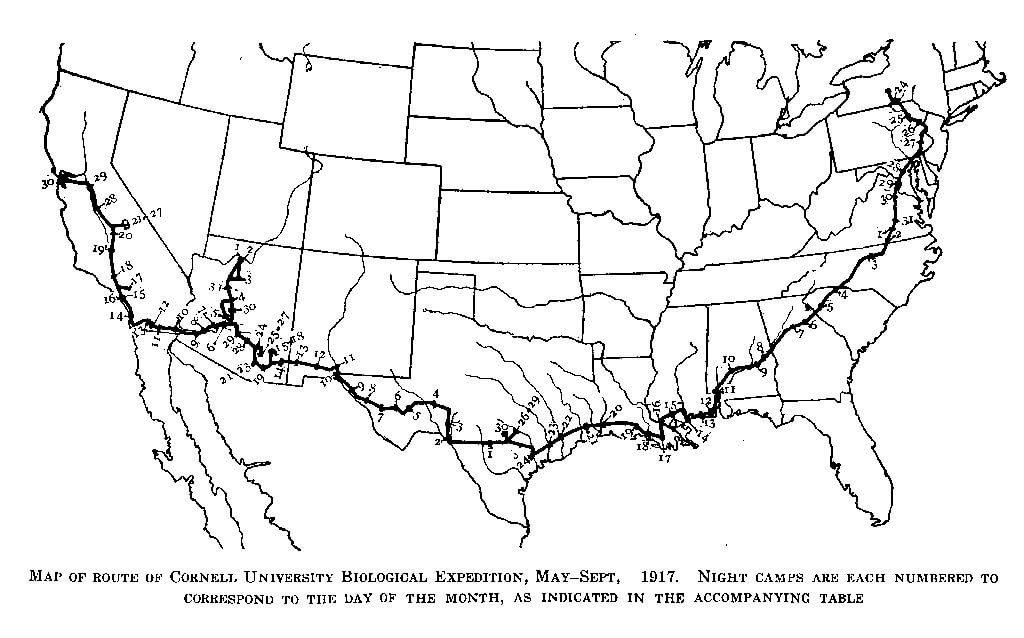 A map showing the 1917 Biological Expidition's route, which heads south from Ithaca, New York and travels west across the southern border of the United States before heading north again to end in Berkeley, California.